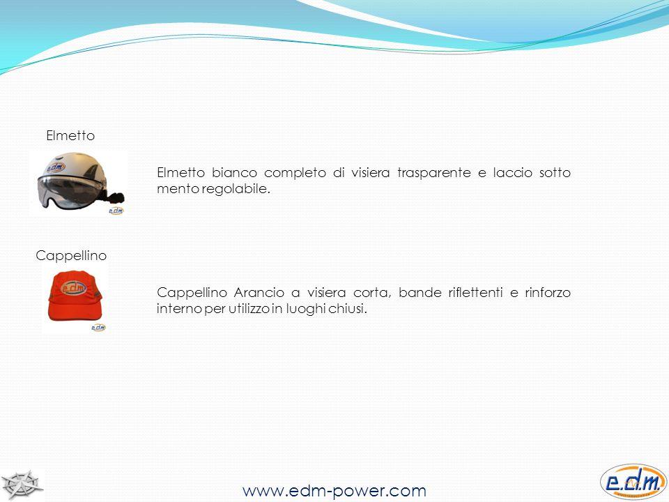 www.edm-power.com Elmetto Elmetto bianco completo di visiera trasparente e laccio sotto mento regolabile.