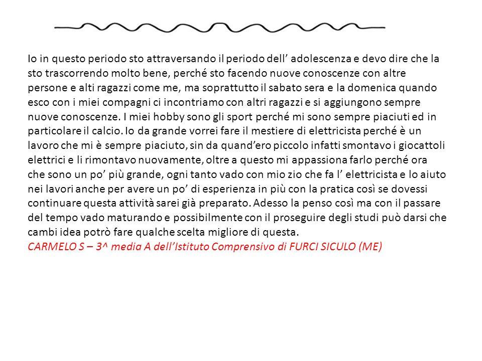 Sono un ragazzo di 13 anni vivo a Furci in un paese della provincia di Messina, frequento la terza media.