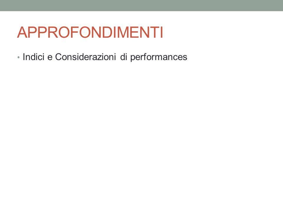 APPROFONDIMENTI Indici e Considerazioni di performances