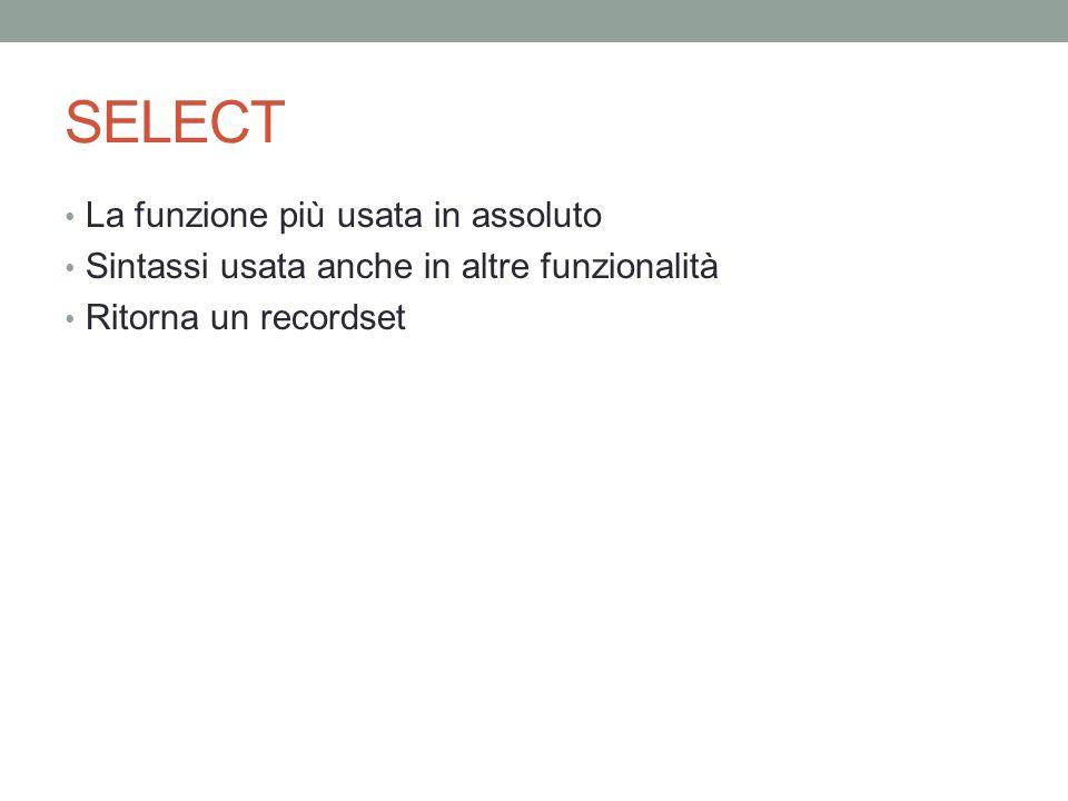 SELECT La funzione più usata in assoluto Sintassi usata anche in altre funzionalità Ritorna un recordset