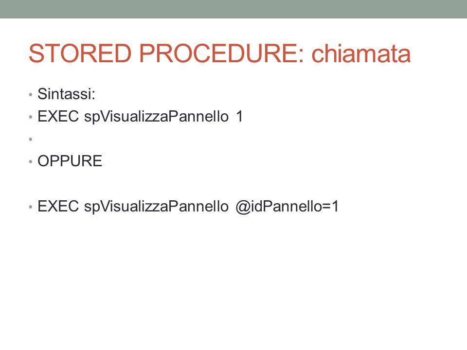 STORED PROCEDURE: chiamata Sintassi: EXEC spVisualizzaPannello 1 OPPURE EXEC spVisualizzaPannello @idPannello=1