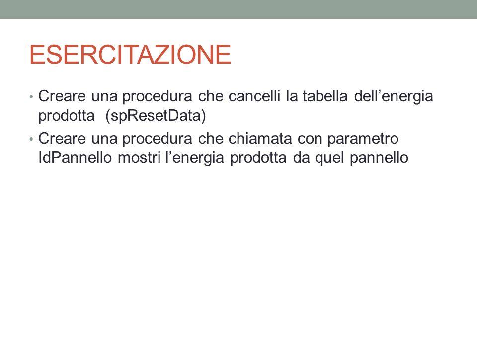 ESERCITAZIONE Creare una procedura che cancelli la tabella dellenergia prodotta (spResetData) Creare una procedura che chiamata con parametro IdPannel