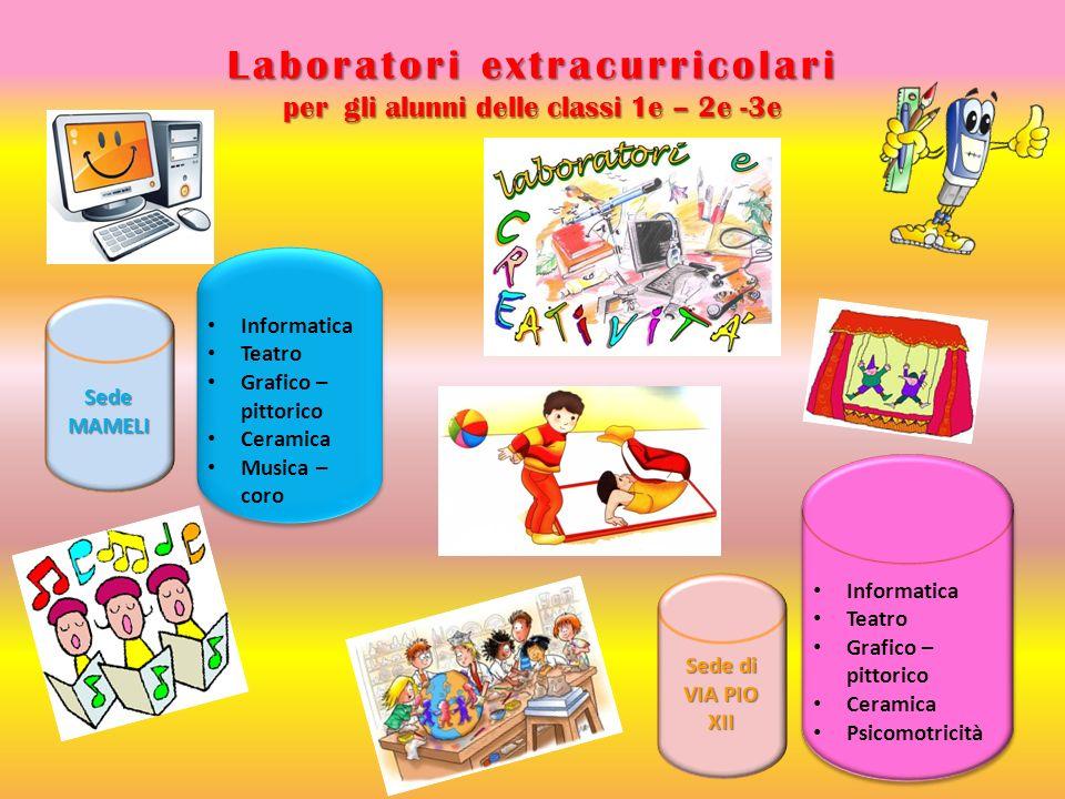 Laboratori extracurricolari per gli alunni delle classi 1e – 2e -3e SedeMAMELI Sede di VIA PIO XII Informatica Teatro Grafico – pittorico Ceramica Psi