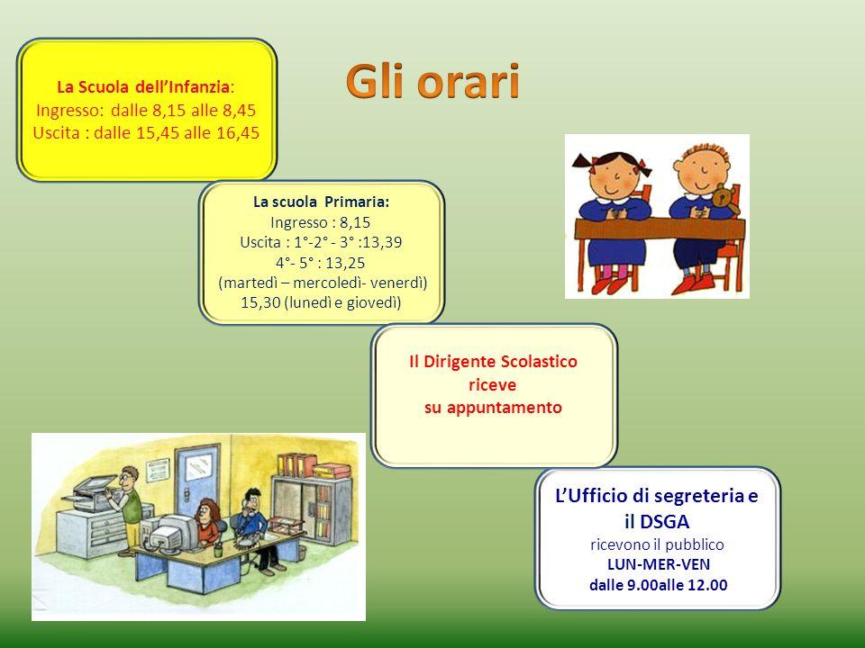 La Scuola dellInfanzia: Ingresso: dalle 8,15 alle 8,45 Uscita : dalle 15,45 alle 16,45 La scuola Primaria: Ingresso : 8,15 Uscita : 1°-2° - 3° :13,39