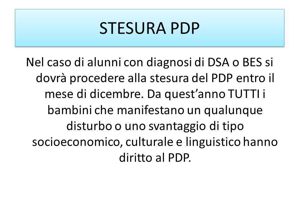 STESURA PDP Nel caso di alunni con diagnosi di DSA o BES si dovrà procedere alla stesura del PDP entro il mese di dicembre. Da questanno TUTTI i bambi