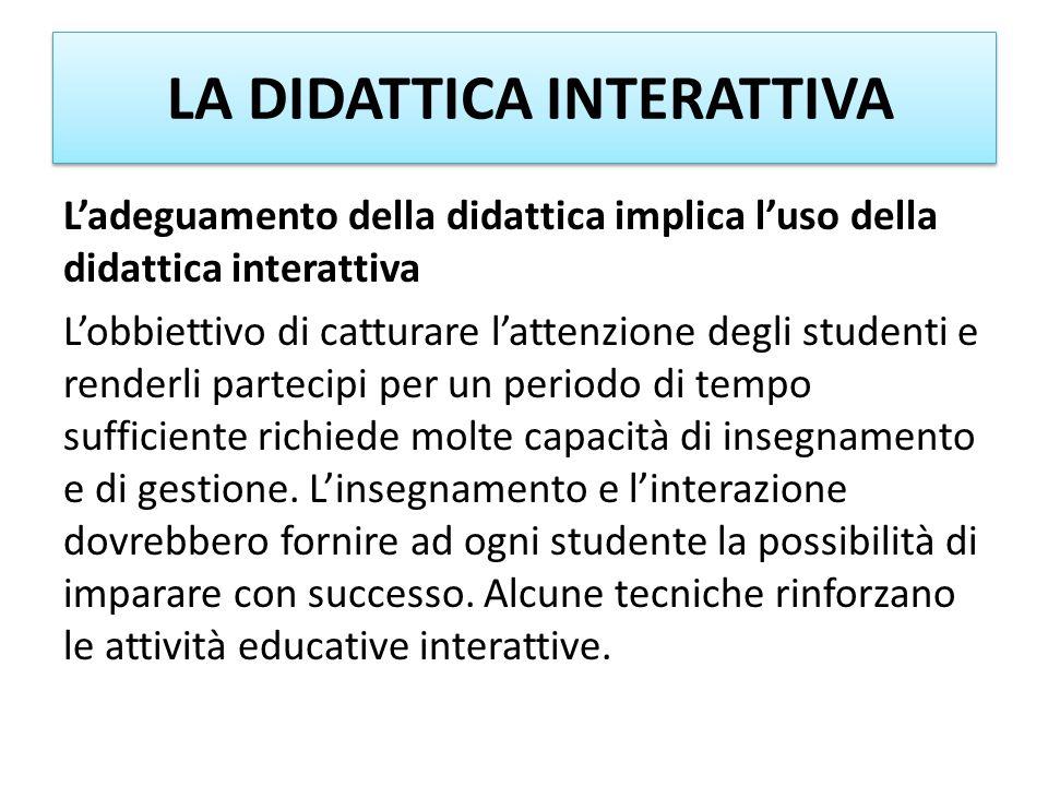 LA DIDATTICA INTERATTIVA Ladeguamento della didattica implica luso della didattica interattiva Lobbiettivo di catturare lattenzione degli studenti e r