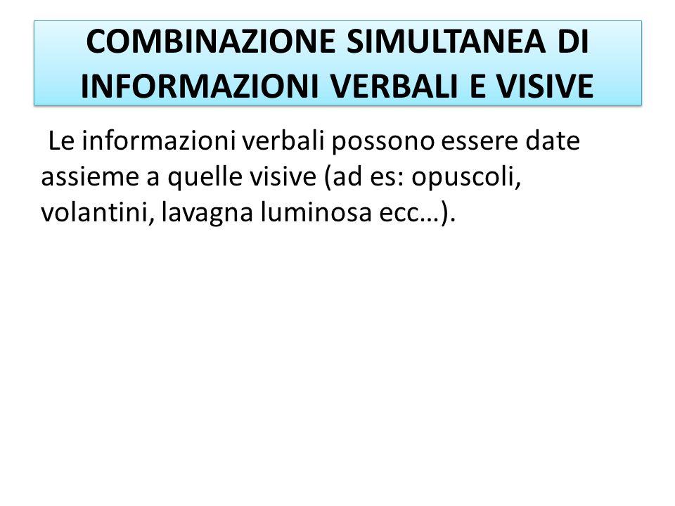 COMBINAZIONE SIMULTANEA DI INFORMAZIONI VERBALI E VISIVE Le informazioni verbali possono essere date assieme a quelle visive (ad es: opuscoli, volanti