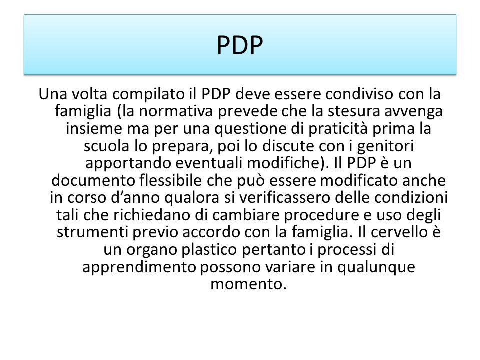 PDP Una volta compilato il PDP deve essere condiviso con la famiglia (la normativa prevede che la stesura avvenga insieme ma per una questione di prat