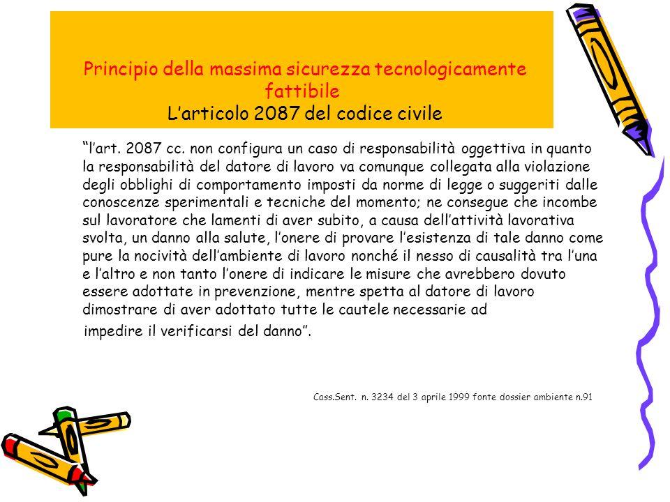 Principio della massima sicurezza tecnologicamente fattibile Larticolo 2087 del codice civile lart.