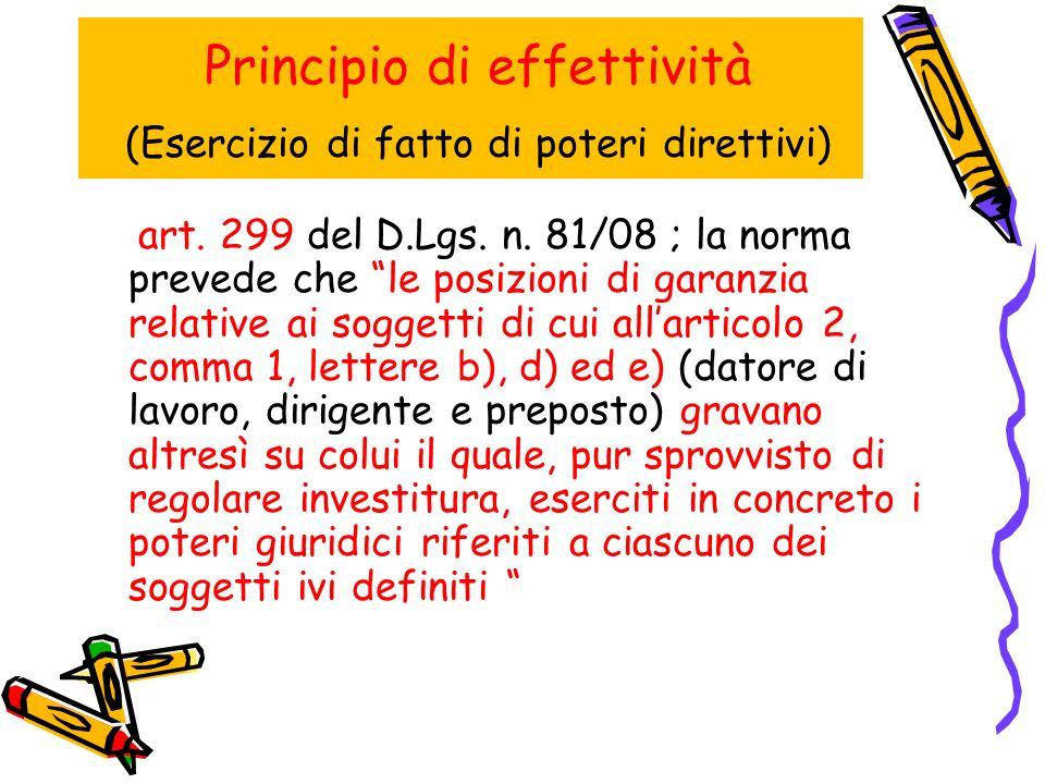 Principio di effettività (Esercizio di fatto di poteri direttivi) art.