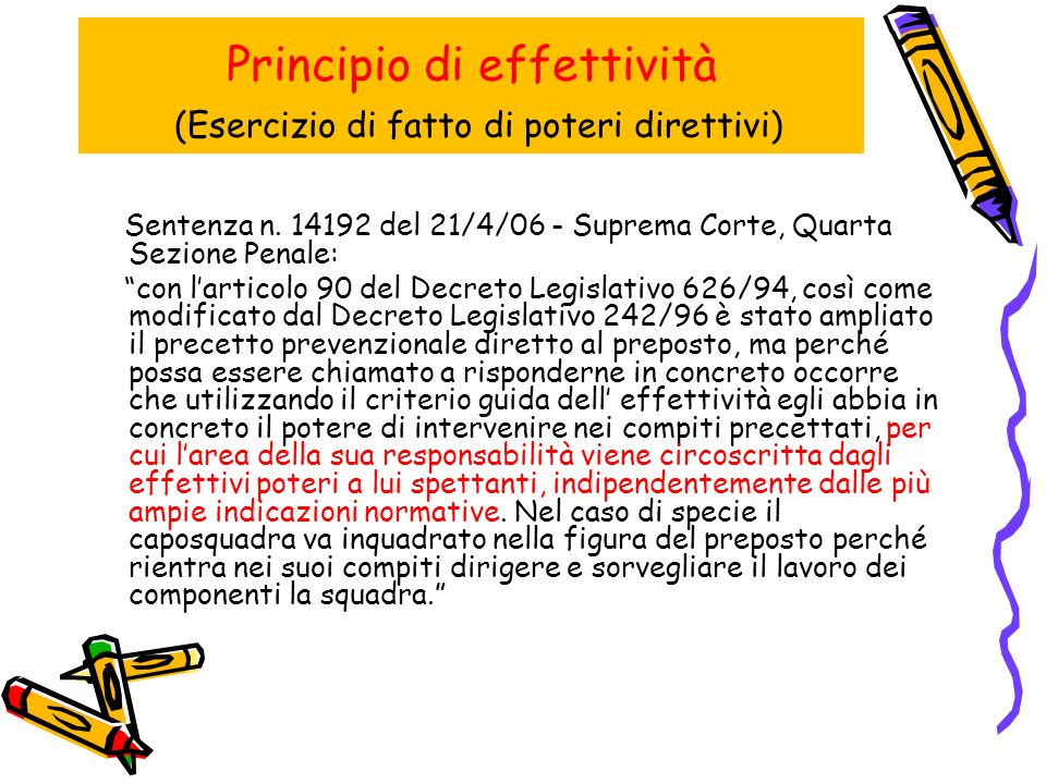 Principio di effettività (Esercizio di fatto di poteri direttivi) Sentenza n.