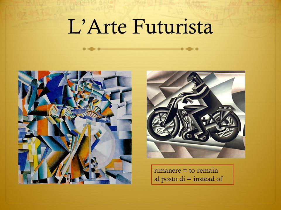 LArte Futurista rimanere = to remain al posto di = instead of