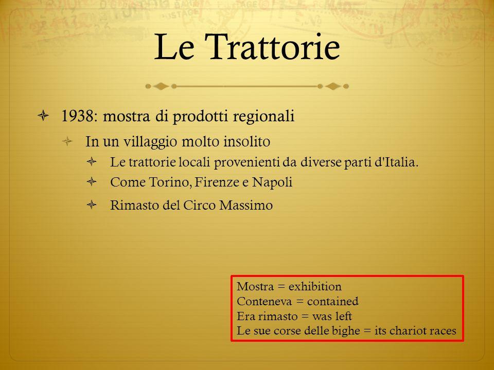 Le Trattorie 1938: mostra di prodotti regionali In un villaggio molto insolito Le trattorie locali provenienti da diverse parti d'Italia. Come Torino,