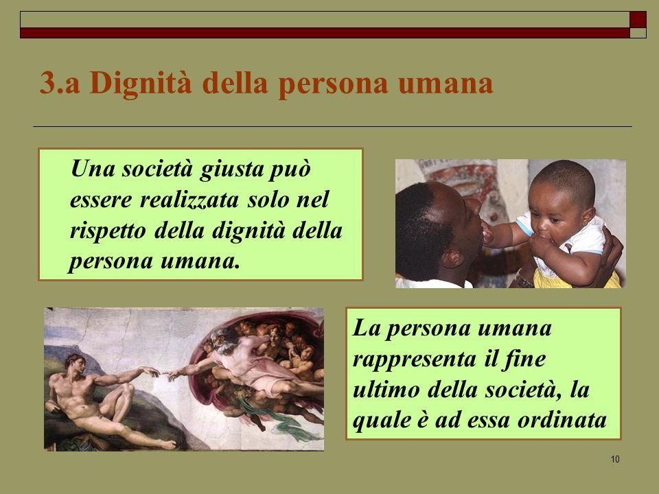 10 3.a Dignità della persona umana Una società giusta può essere realizzata solo nel rispetto della dignità della persona umana.