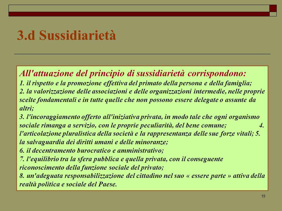 19 3.d Sussidiarietà All attuazione del principio di sussidiarietà corrispondono: 1.