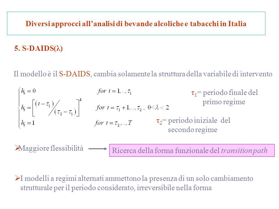 Diversi approcci allanalisi di bevande alcoliche e tabacchi in Italia 5.