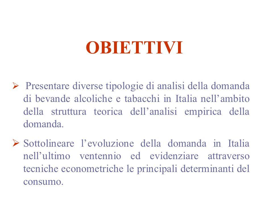 OBIETTIVI Presentare diverse tipologie di analisi della domanda di bevande alcoliche e tabacchi in Italia nellambito della struttura teorica dellanalisi empirica della domanda.