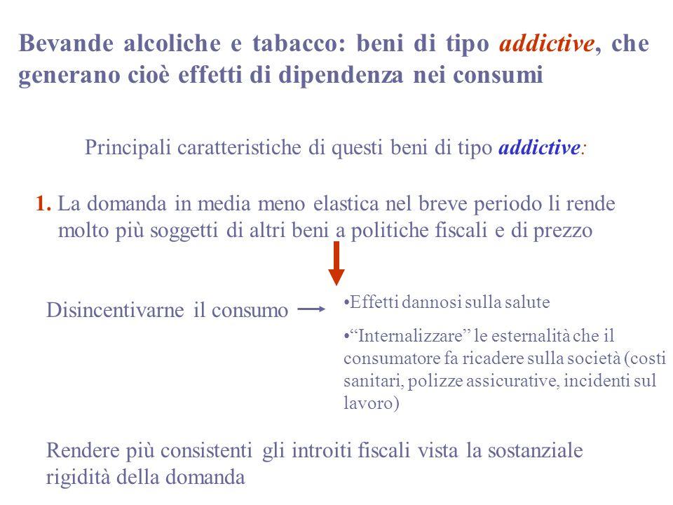 Bevande alcoliche e tabacco: beni di tipo addictive, che generano cioè effetti di dipendenza nei consumi Principali caratteristiche di questi beni di tipo addictive: 1.