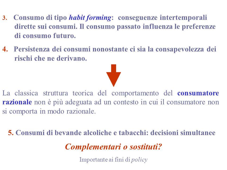 3.Consumo di tipo habit forming: conseguenze intertemporali dirette sui consumi.