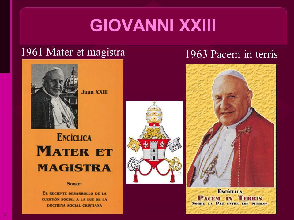 GIOVANNI XXIII 1961 Mater et magistra 1963 Pacem in terris ritardo 4
