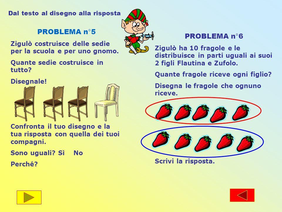 PROBLEMA n°5 Zigulò costruisce delle sedie per la scuola e per uno gnomo. Quante sedie costruisce in tutto? Disegnale! Confronta il tuo disegno e la t