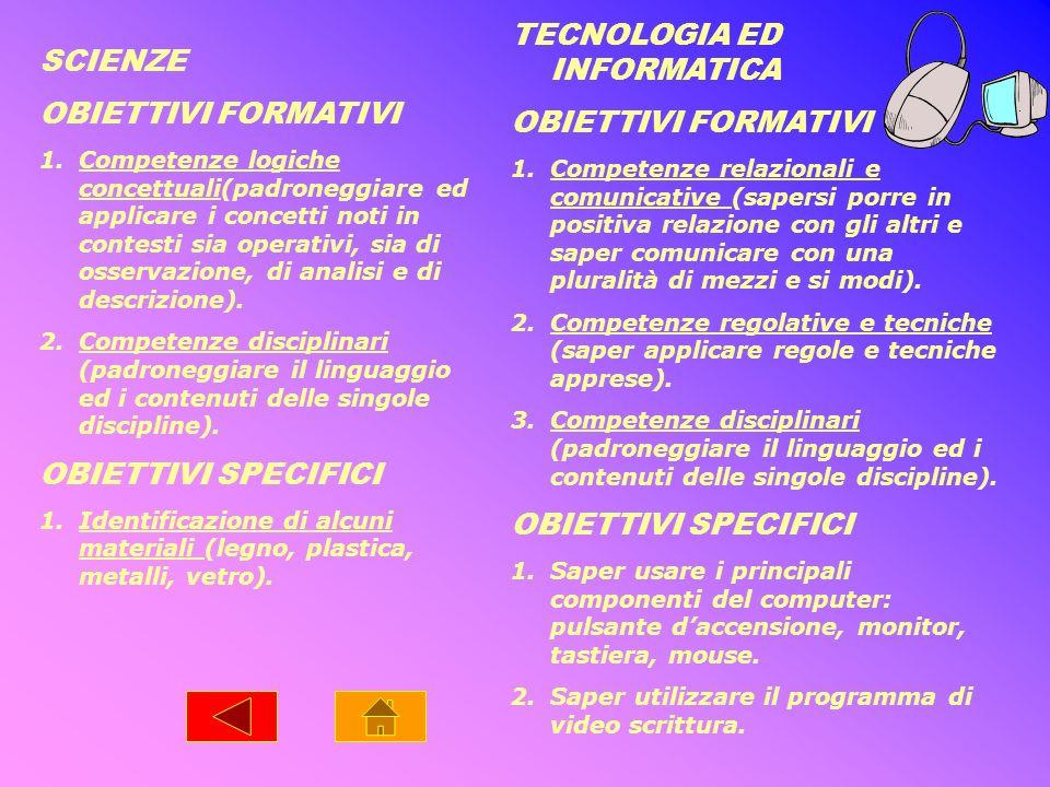 SCIENZE OBIETTIVI FORMATIVI 1.Competenze logiche concettuali(padroneggiare ed applicare i concetti noti in contesti sia operativi, sia di osservazione