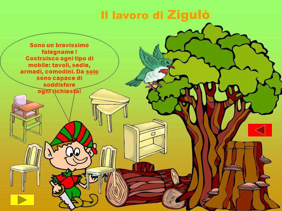 Il lavoro di Zigulò Sono un bravissimo falegname ! Costruisco ogni tipo di mobile: tavoli, sedie, armadi, comodini. Da solo sono capace di soddisfare