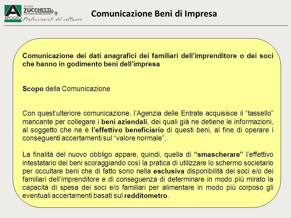 Comunicazione Beni di Impresa Comunicazione dei dati anagrafici dei familiari dellimprenditore o dei soci che hanno in godimento beni dellimpresa Scop