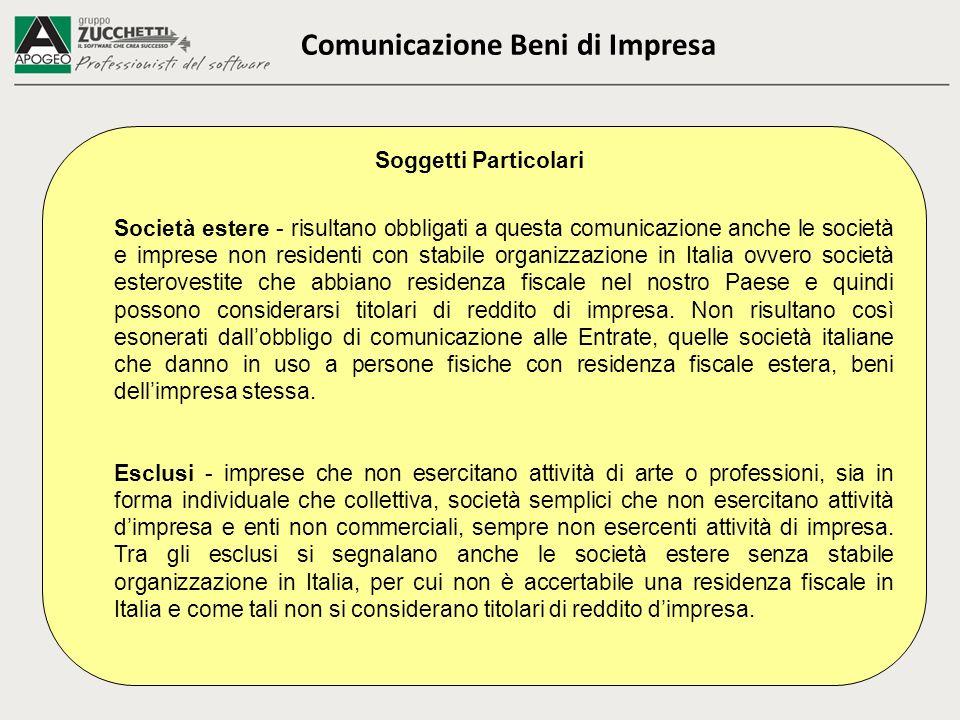 Comunicazione Beni di Impresa Soggetti Particolari Società estere - risultano obbligati a questa comunicazione anche le società e imprese non resident