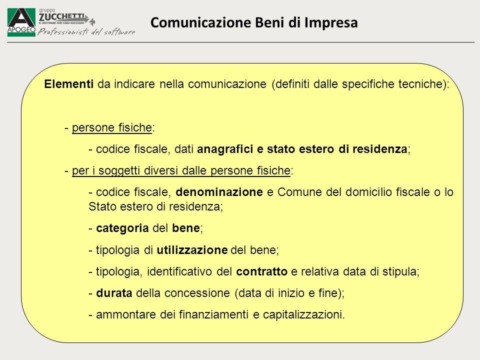 Comunicazione Beni di Impresa Elementi da indicare nella comunicazione (definiti dalle specifiche tecniche): - persone fisiche: - codice fiscale, dati