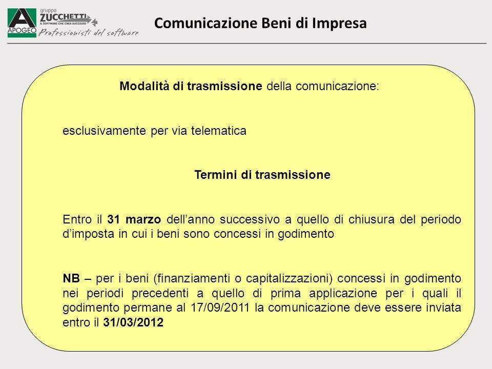 Comunicazione Beni di Impresa Modalità di trasmissione della comunicazione: esclusivamente per via telematica Termini di trasmissione Entro il 31 marz