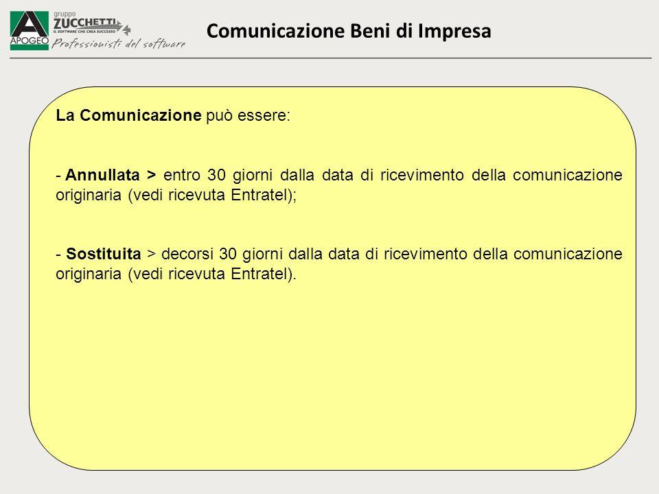 Comunicazione Beni di Impresa La Comunicazione può essere: - Annullata > entro 30 giorni dalla data di ricevimento della comunicazione originaria (ved