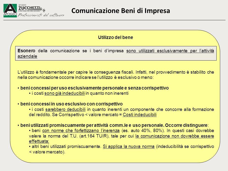 Comunicazione Beni di Impresa Utilizzo del bene Esonero della comunicazione se i beni dimpresa sono utilizzati esclusivamente per lattività aziendale Lutilizzo è fondamentale per capire le conseguenza fiscali.