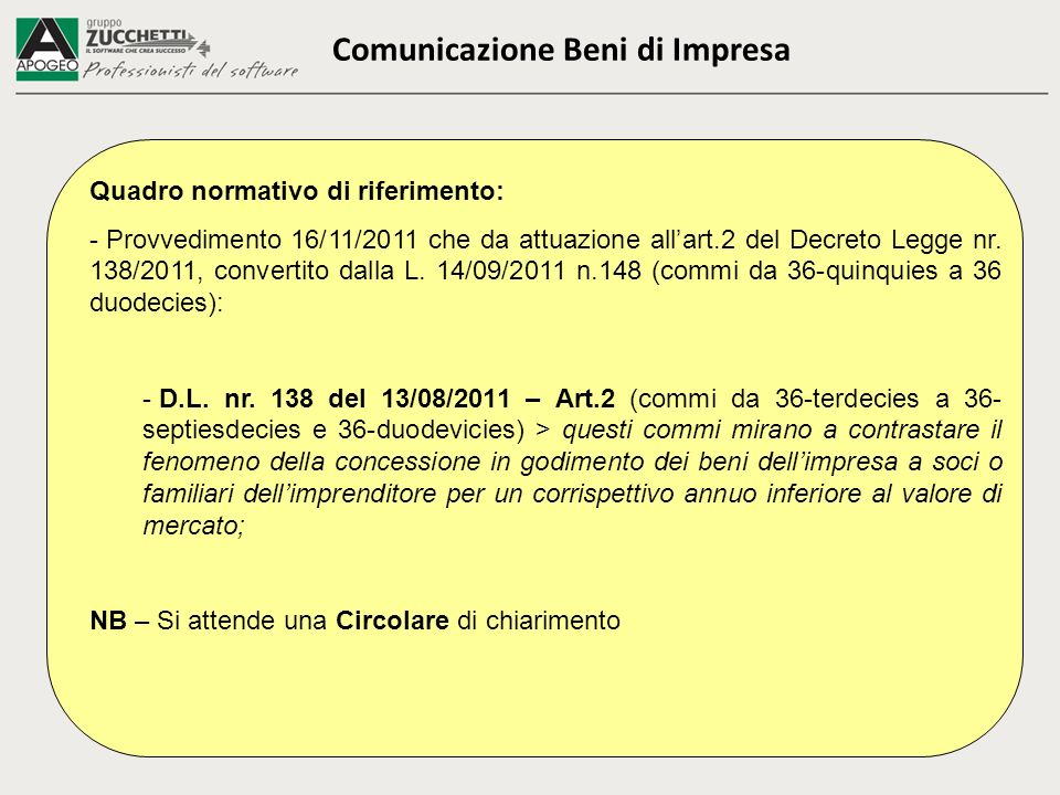Comunicazione Beni di Impresa Quadro normativo di riferimento: - Provvedimento 16/11/2011 che da attuazione allart.2 del Decreto Legge nr. 138/2011, c