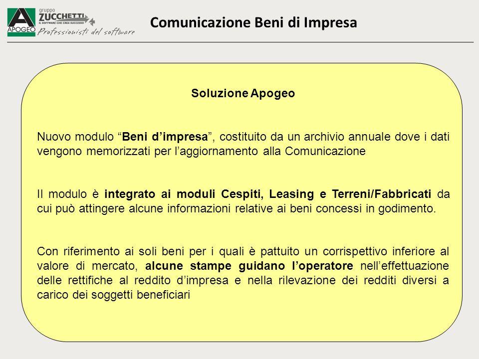 Soluzione Apogeo Nuovo modulo Beni dimpresa, costituito da un archivio annuale dove i dati vengono memorizzati per laggiornamento alla Comunicazione I