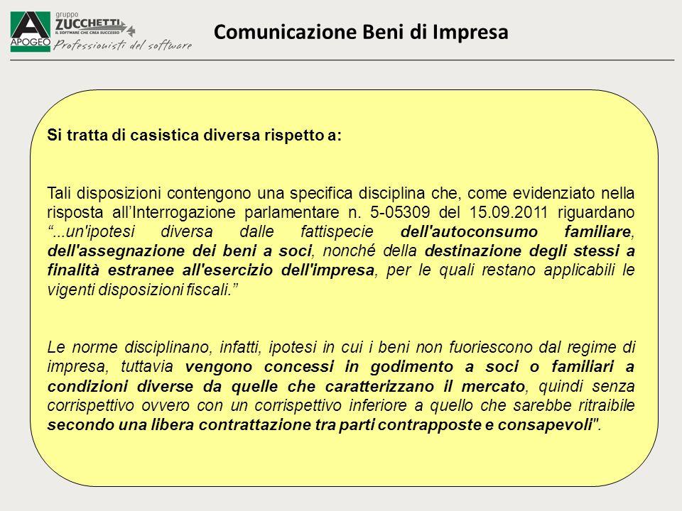 Comunicazione Beni di Impresa Si tratta di casistica diversa rispetto a: Tali disposizioni contengono una specifica disciplina che, come evidenziato nella risposta allInterrogazione parlamentare n.