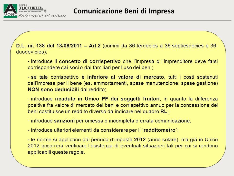 Comunicazione Beni di Impresa D.L. nr. 138 del 13/08/2011 – Art.2 (commi da 36-terdecies a 36-septiesdecies e 36- duodevicies): - introduce il concett