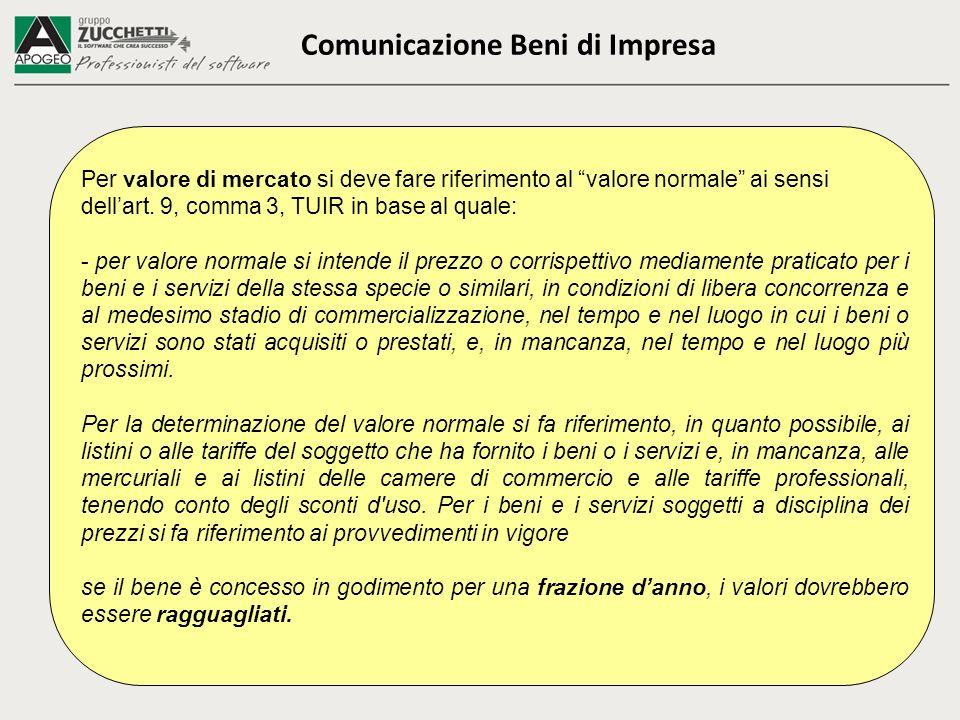 Comunicazione Beni di Impresa Per valore di mercato si deve fare riferimento al valore normale ai sensi dellart. 9, comma 3, TUIR in base al quale: -