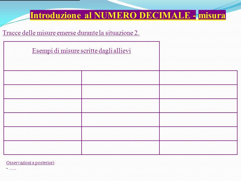Introduzione al NUMERO DECIMALE - misura Esempi di misure scritte dagli allievi Tracce delle misure emerse durante la situazione 2.