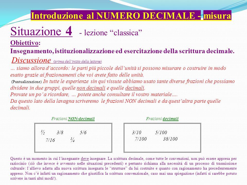 Situazione 4 - lezione classica Obiettivo: Insegnamento, istituzionalizzazione ed esercitazione della scrittura decimale. Discussione (prima dellinizi