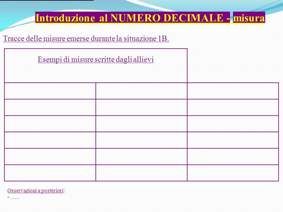 Introduzione al NUMERO DECIMALE - misura Esempi di misure scritte dagli allievi Tracce delle misure emerse durante la situazione 1B.