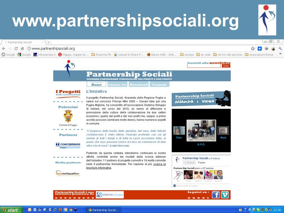 www.partnershipsociali.org Partnership realizzate che hanno coinvolto 19 realtà del territorio tra imprese ed opere sociali Partnership realizzate che hanno coinvolto 19 realtà del territorio tra imprese ed opere sociali