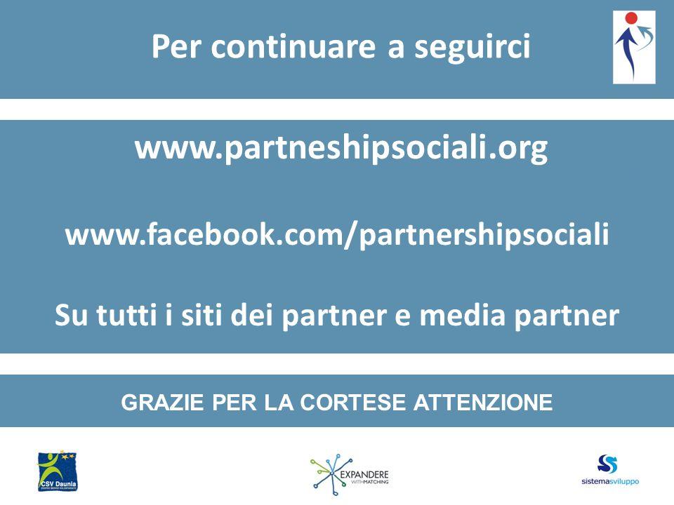 Per continuare a seguirci www.partneshipsociali.org www.facebook.com/partnershipsociali Su tutti i siti dei partner e media partner GRAZIE PER LA CORTESE ATTENZIONE