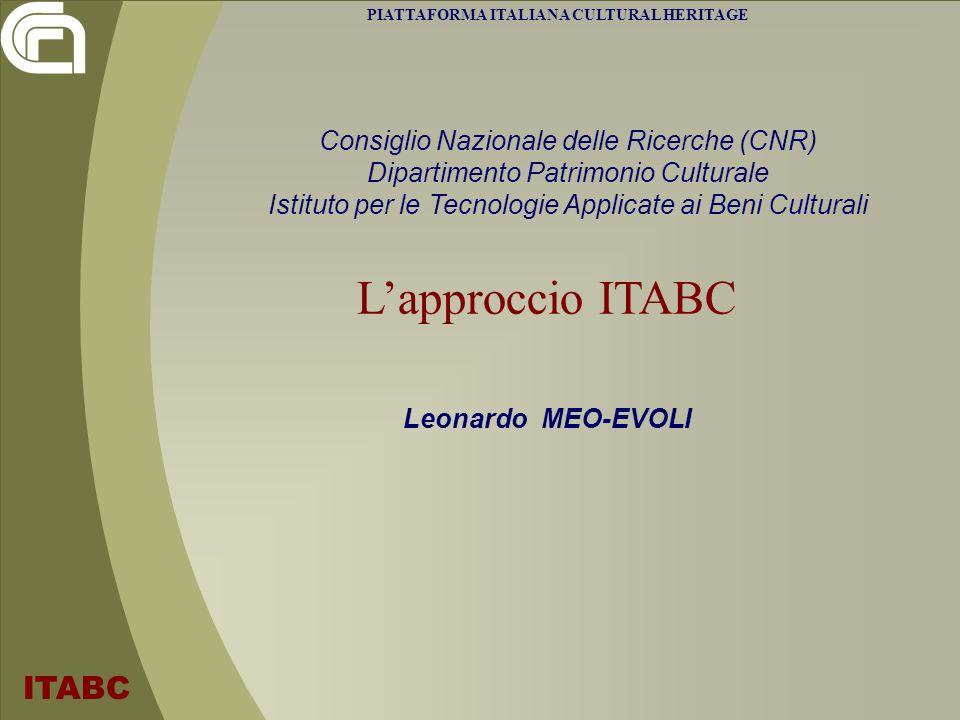 Piattaforma Italiana Cultural Heritage - 5 maggio 2011 ITABC - L.Meo-Evoli - leonardo.meoevoli@cnr.it Esempi di tecnologie: ARKIS ARKIS : GIS verticale per lintegrazione di dati eterogenei nel monitoraggio Strumento di navigazione attraverso basi di conoscenza Strumento di sintesi per il monitoraggio assistito Menu