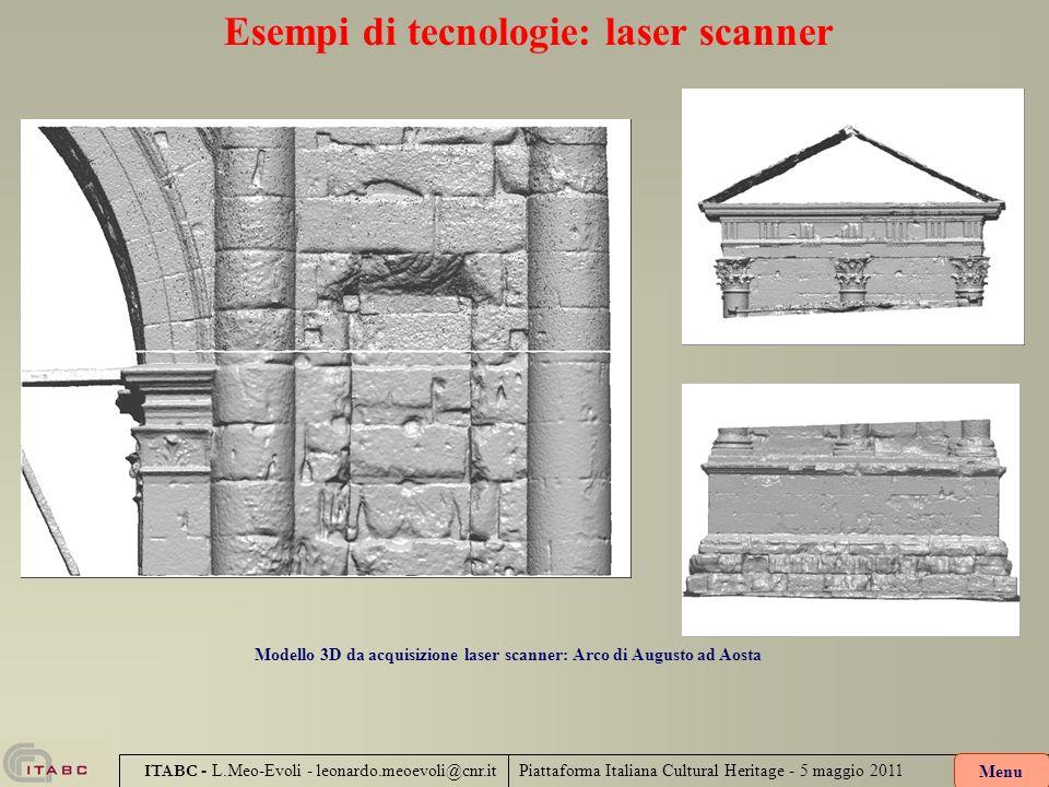 Piattaforma Italiana Cultural Heritage - 5 maggio 2011 ITABC - L.Meo-Evoli - leonardo.meoevoli@cnr.it Esempi di tecnologie: laser scanner Modello 3D d