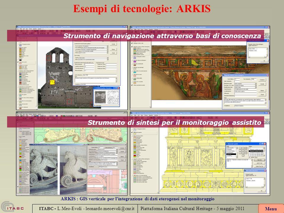 Piattaforma Italiana Cultural Heritage - 5 maggio 2011 ITABC - L.Meo-Evoli - leonardo.meoevoli@cnr.it Esempi di tecnologie: ARKIS ARKIS : GIS vertical
