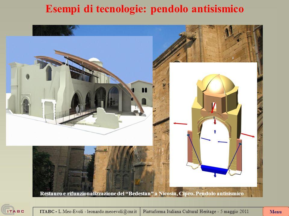 Piattaforma Italiana Cultural Heritage - 5 maggio 2011 ITABC - L.Meo-Evoli - leonardo.meoevoli@cnr.it Esempi di tecnologie: pendolo antisismico Menu R
