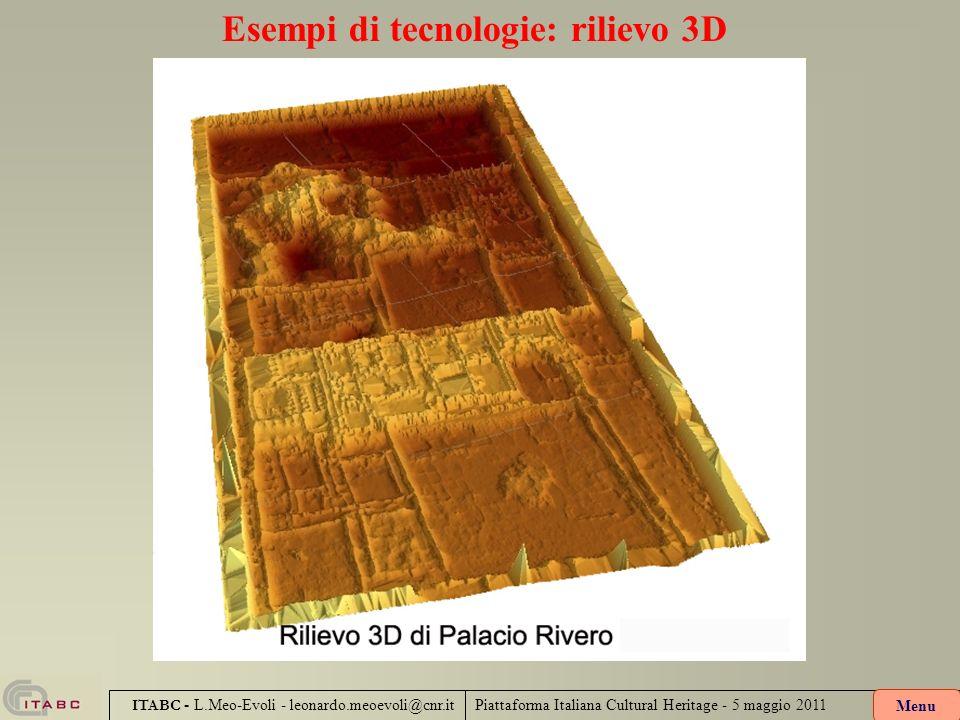 Piattaforma Italiana Cultural Heritage - 5 maggio 2011 ITABC - L.Meo-Evoli - leonardo.meoevoli@cnr.it Esempi di tecnologie: rilievo 3D Menu