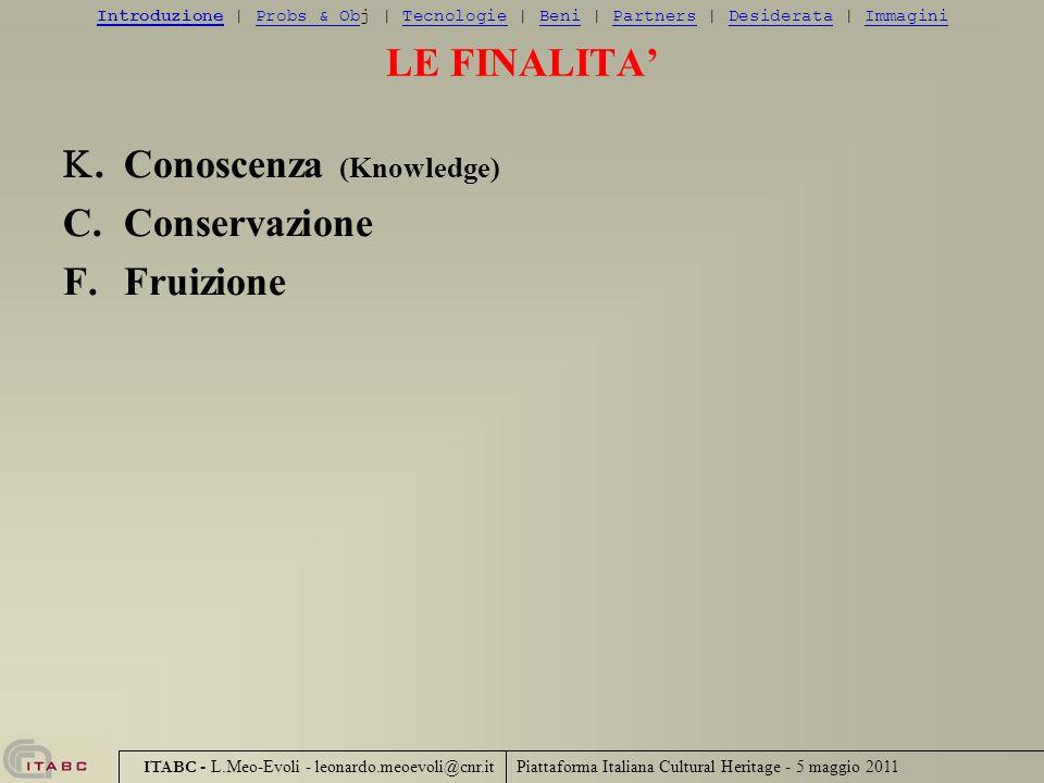 Piattaforma Italiana Cultural Heritage - 5 maggio 2011 ITABC - L.Meo-Evoli - leonardo.meoevoli@cnr.it LE FINALITA.Conoscenza (Knowledge) C.Conservazio