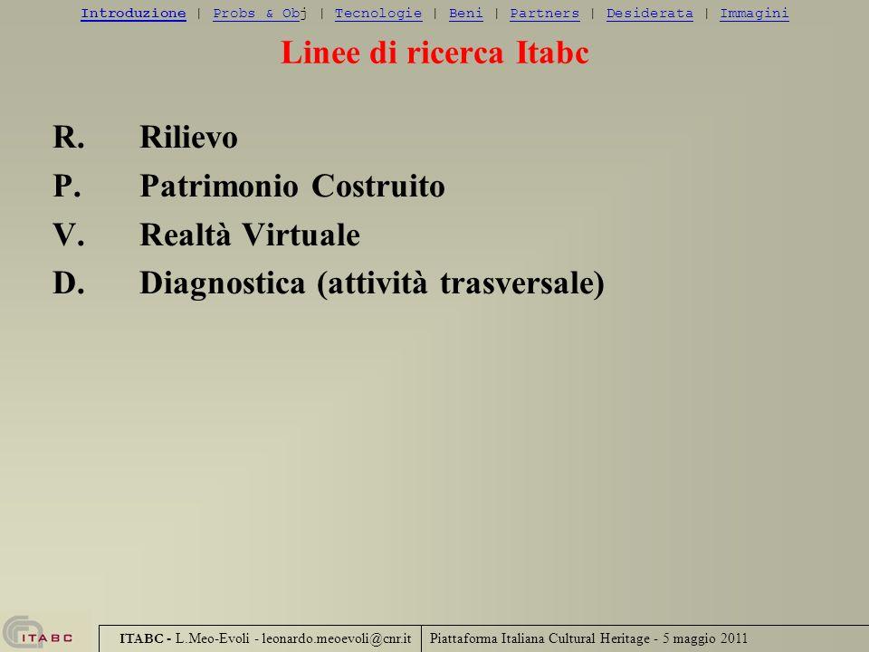 Piattaforma Italiana Cultural Heritage - 5 maggio 2011 ITABC - L.Meo-Evoli - leonardo.meoevoli@cnr.it Il Contesto IntroduzioneIntroduzione | Probs & Obj | Tecnologie | Beni | Partners | Desiderata | ImmaginiProbs & ObTecnologieBeniPartnersDesiderataImmagini